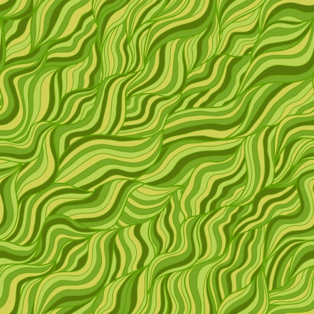 Artistic wavy hand drawn seamless pattern for your design  Green and yellow variant Vector