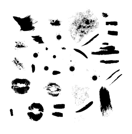 lip kiss: Brush strokes, ink srains and black lips imprints set for your design  Eps 10 vector