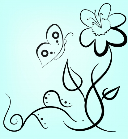 stylized floral drawing Vector
