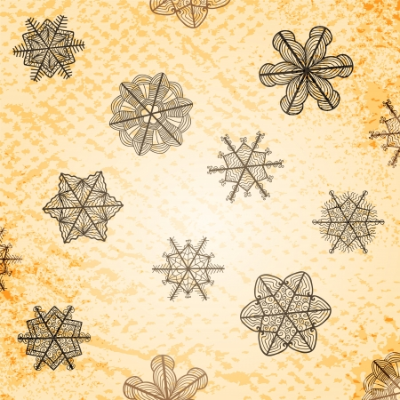 vellum: vintage textured background with artistic stylized snowflakes