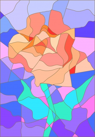 vitrage: Stained glass rose flower in pastel delicate tints for your design Illustration