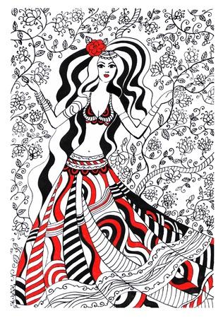 belly dancing: Beautiful belly dancer  Ink pen illustration