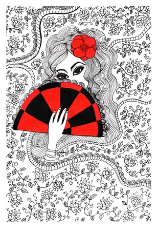 Ink pen illustration of a beautiful woman with fan illustration