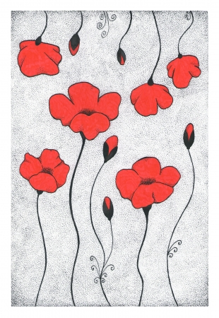 Hand drawn dotted style ink pen illustration of red stylized poppies illustration