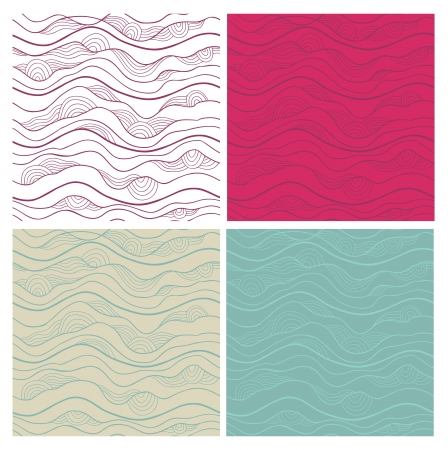 Abstract seamless patterns set. Fancy doodle.