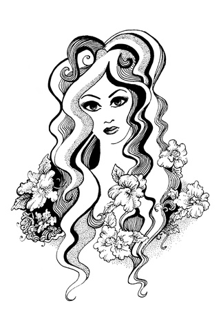 Black and white decorative flourish ink drawing of a beautiful girl Illustration