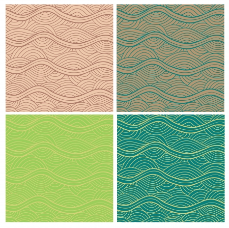 fluted: Abstract seamless patterns set. Fancy doodle.