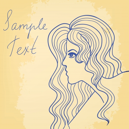 Retro card with beautiful girl drawing and a place for your text Stock Vector - 16939144