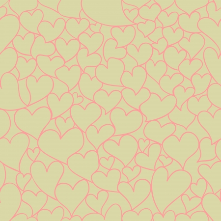 valentine seamless pattern with stylized artistic hand drawn hearts   Vector