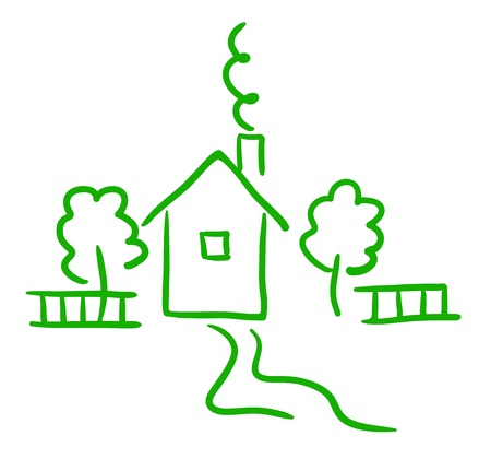 Artistic green sketch of cottage, trees and fence