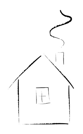 dwell: Artistic sketch of cottage Illustration