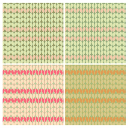 abstract seamless pattern set  Resembles patterned knitting linen  Vector