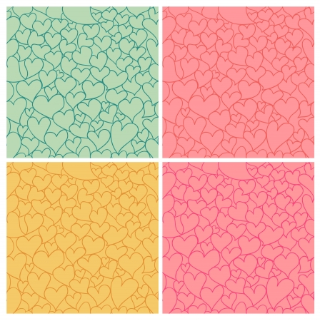 tints:  valentine seamless pattern set with stylized artistic hand drawn hearts  Vintage tints