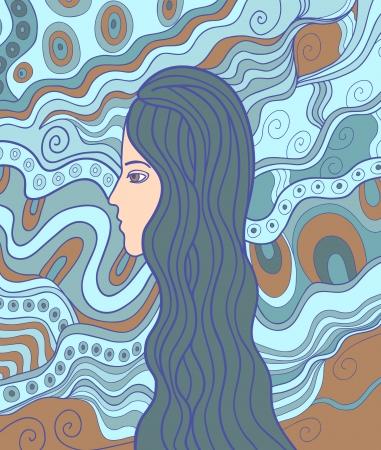 vitrage: Doodle fancy illustration of a girl