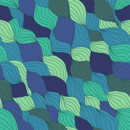 fragmentary: Lado art�stico mosaico ondulado fragmentaria dibujado patr�n transparente para su dise�o. Variante azul Vectores