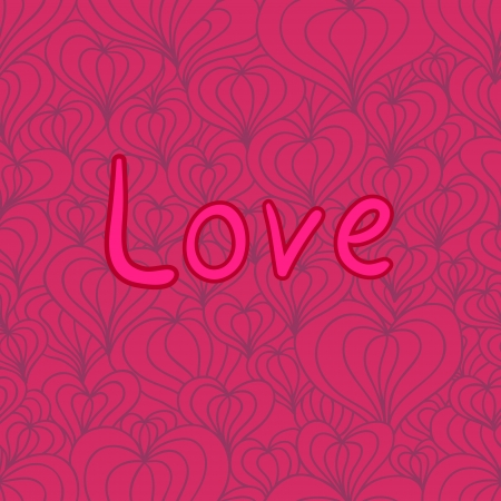 quot:  seamless pattern with the &quot,Love&quot,  inscription and stylized hearts for yoyr Valentine design