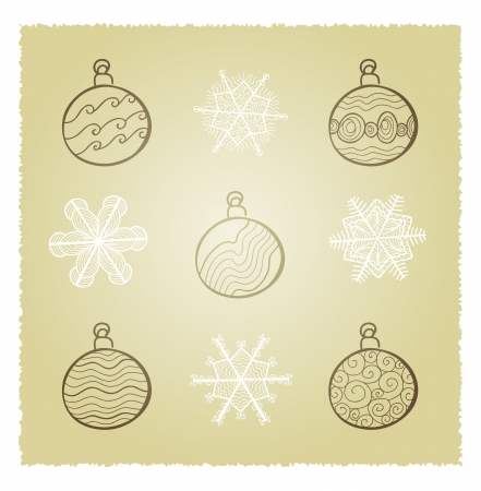 retro card wth Christmas fir tree decorations Stock Vector - 16939242