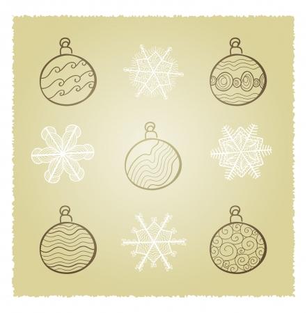retro card wth Christmas fir tree decorations Stock Vector - 16939242