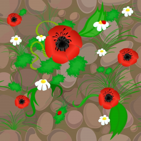 cobbled: Backgound with stylized stones, poppies and ladybird