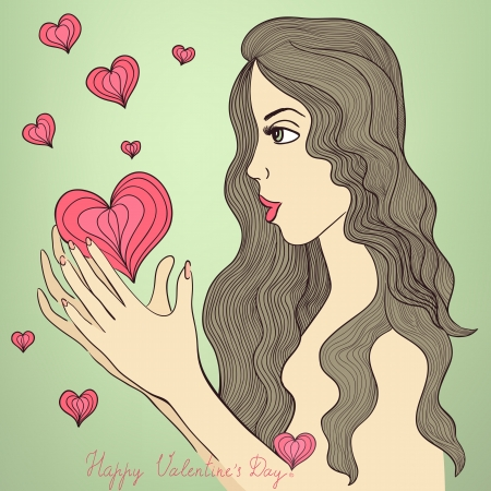 Valentine  card. Beautiful hand drawn girl with stylized hearts around her. Nice retro colors