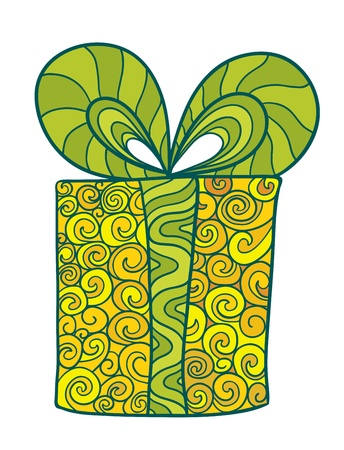 Stylized green and yellow gift box with a bow Stock Vector - 16939005