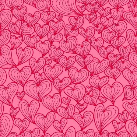 valentine seamless pattern with stylized artistic hand drawn hearts. Bright pink and red colors Vector