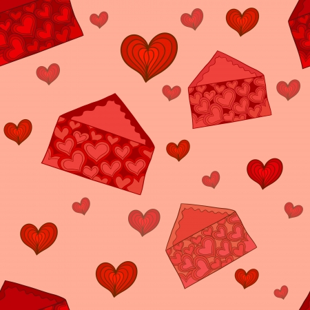 seamless pattern with beautiful stylized Valentine envelopes Stock Vector - 16939211