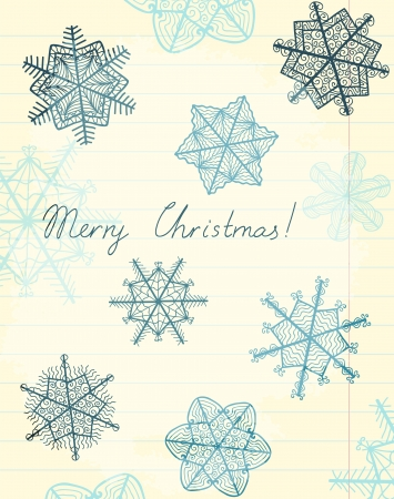 yellowed: sheet of yellowed lined paper with beautiful artistic snowflakes