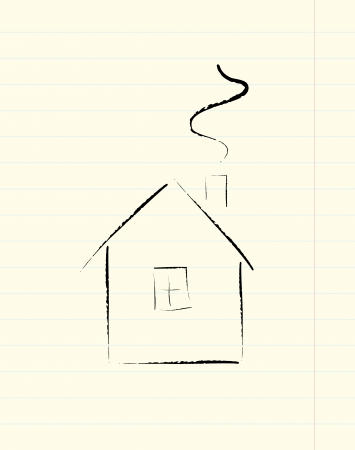 dwell: sheet of lined paper with house sketch Illustration