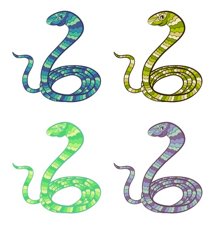 Set of stylized snakes - symbol of year 2013 Stock Vector - 16939217