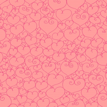 valentine seamless pattern with stylized artistic hand drawn hearts.   Vector