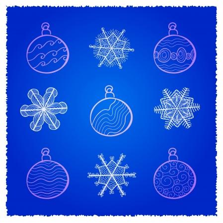 card wth Christmas fir tree decorations  Blue variant Stock Vector - 16939240