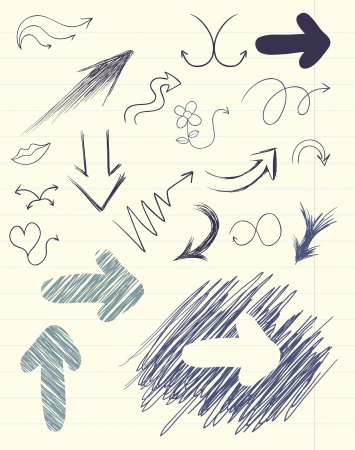 set of hand drawn arrows on paper sheet Vector