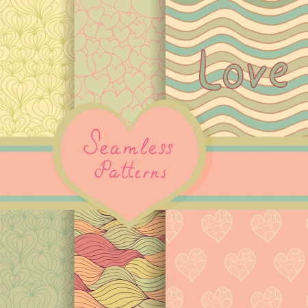 Eps 10 vector valentine seamless patterns set. Beautiful vintage backgrounds for your design Vector