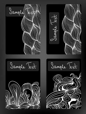 Black and white doodle vector cards collection. Stock Vector - 18640547