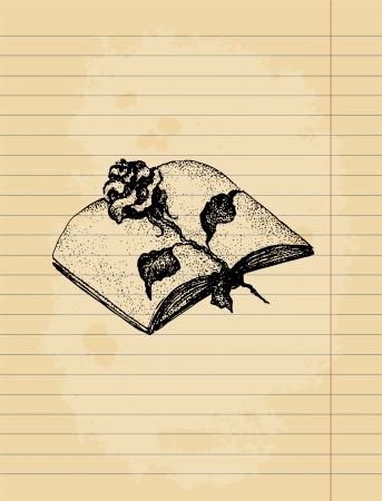gravure: Artistiche sfondo. Penna inchiostro disegno sul vecchio foglio di carta a righe.