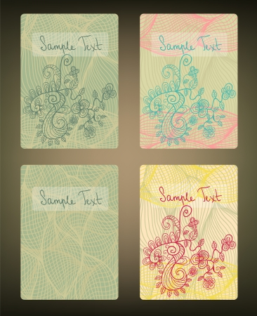 Set of doodle cards Stock Vector - 18640801