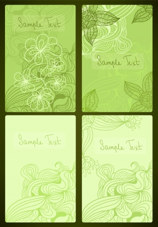 Collection of green floral vector cards. Stock Vector - 18640721