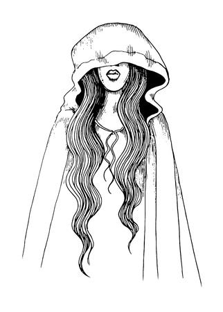 cowl: Ink pen illustration of a girl in hood Illustration