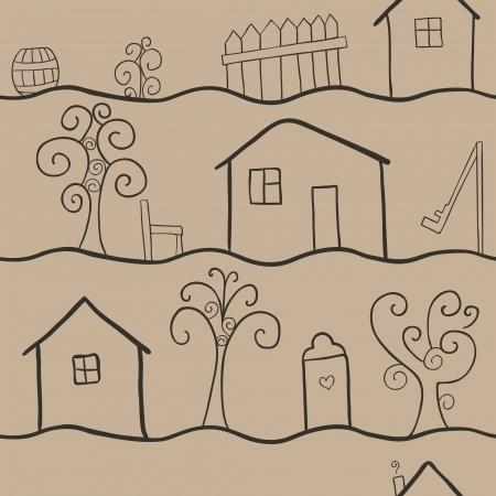 datcha: seamless pattern illustrant la vie rurale