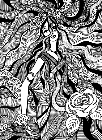 whirpool: hand drawn girl with flowers