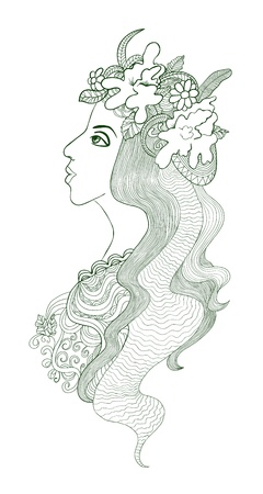 Artistic drawing of a beautiful girl with floral chaplet on her head Vector