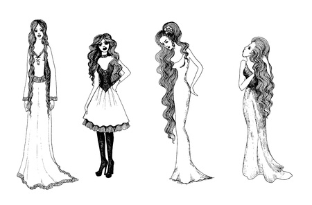 Set of black and white fashionable girls. sketches Vector