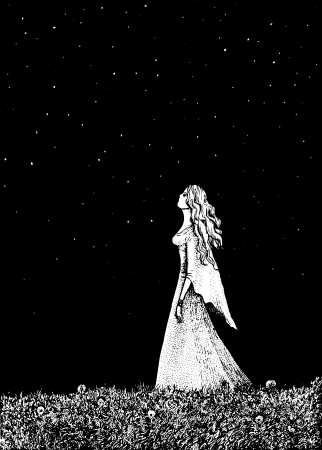 gravure: illustration of a girl and dandelion field. Illustration