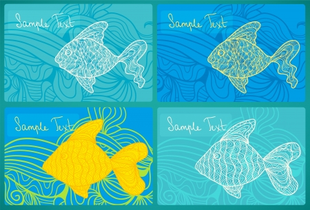 algal: Artistic cards with fancy fish Illustration