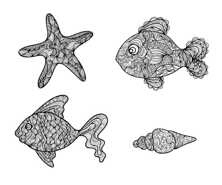 Black and white doodle set. Tropical fish, starfish and shell Stock Vector - 18640686