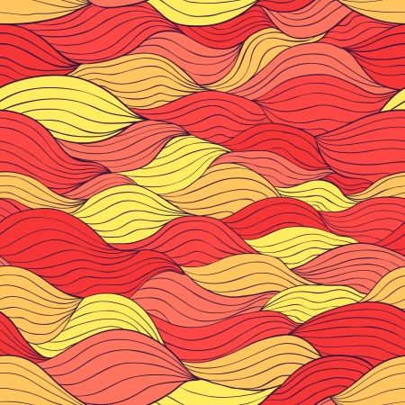Abstract seamless pattern with horizontal fiber. Flame red and yellow colors Stock Vector - 18640441