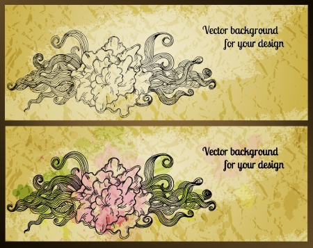 Vintage banners with stylized flowers. Vector