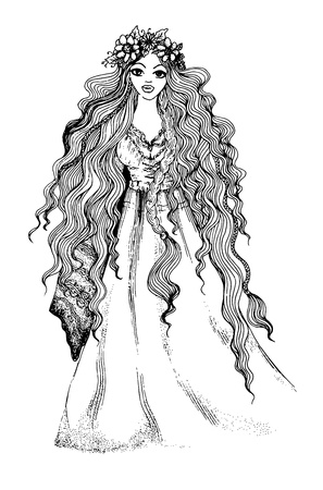 Ink pen illustration of a beautiful long-haired girl with flower crown, variant. Иллюстрация