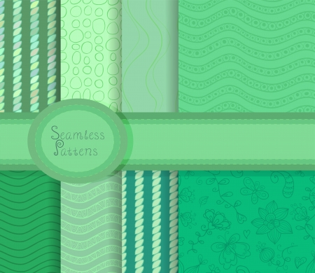 Beautiful collection of seamless patterns in green colors Vector